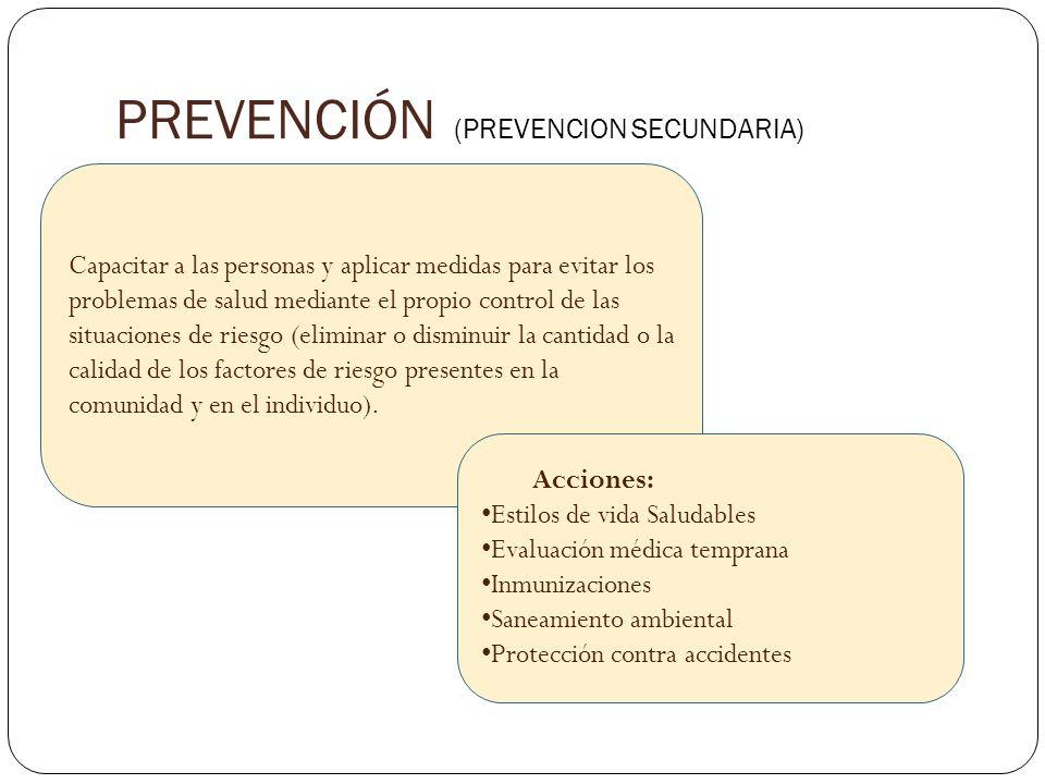 PREVENCIÓN (PREVENCION SECUNDARIA) Capacitar a las personas y aplicar medidas para evitar los problemas de salud mediante el propio control de las sit