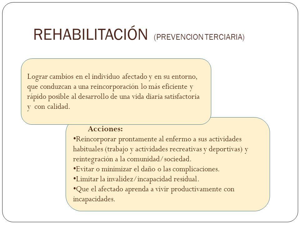 Acciones: Reincorporar prontamente al enfermo a sus actividades habituales (trabajo y actividades recreativas y deportivas) y reintegración a la comun