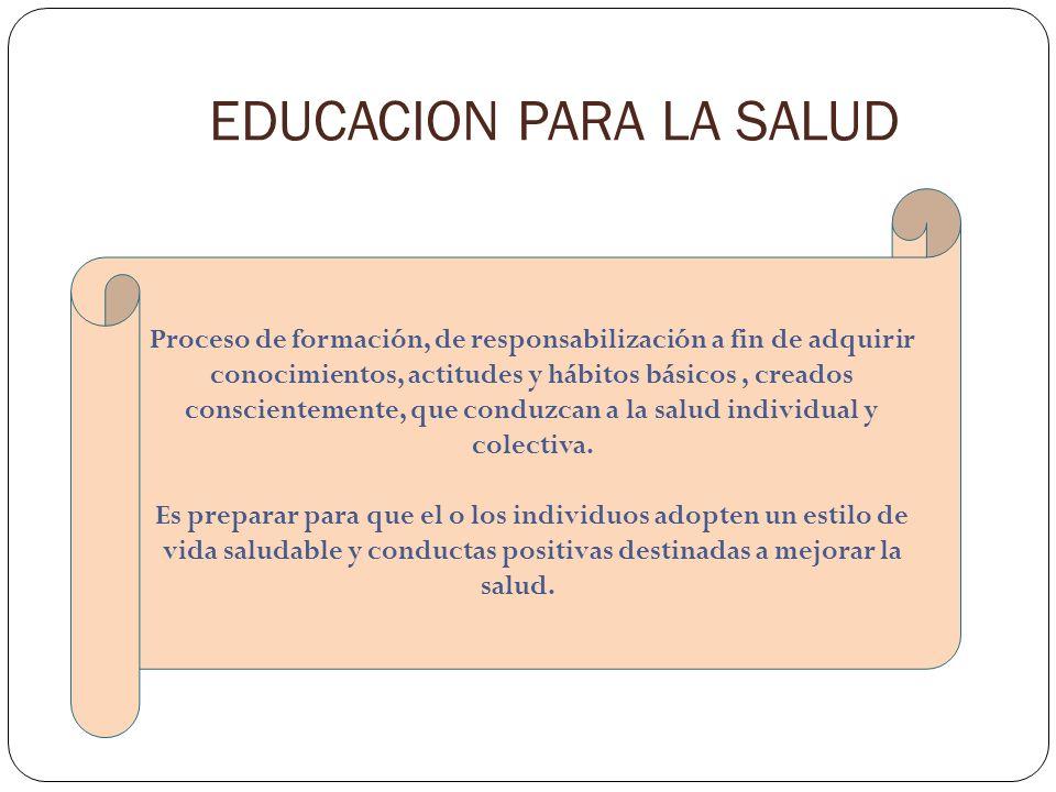 EDUCACION PARA LA SALUD Proceso de formación, de responsabilización a fin de adquirir conocimientos, actitudes y hábitos básicos, creados conscienteme