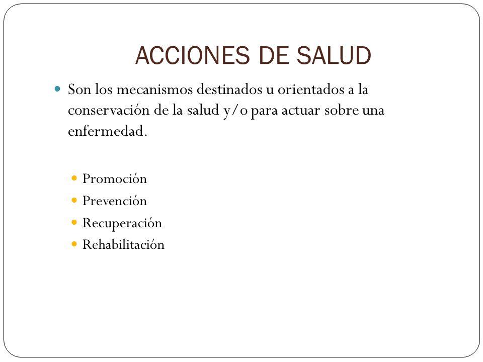 ACCIONES DE SALUD Son los mecanismos destinados u orientados a la conservación de la salud y/o para actuar sobre una enfermedad. Promoción Prevención