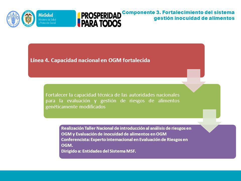 Línea 4. Capacidad nacional en OGM fortalecida Fortalecer la capacidad técnica de las autoridades nacionales para la evaluación y gestión de riesgos d