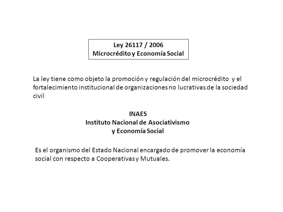La ley tiene como objeto la promoción y regulación del microcrédito y el fortalecimiento institucional de organizaciones no lucrativas de la sociedad