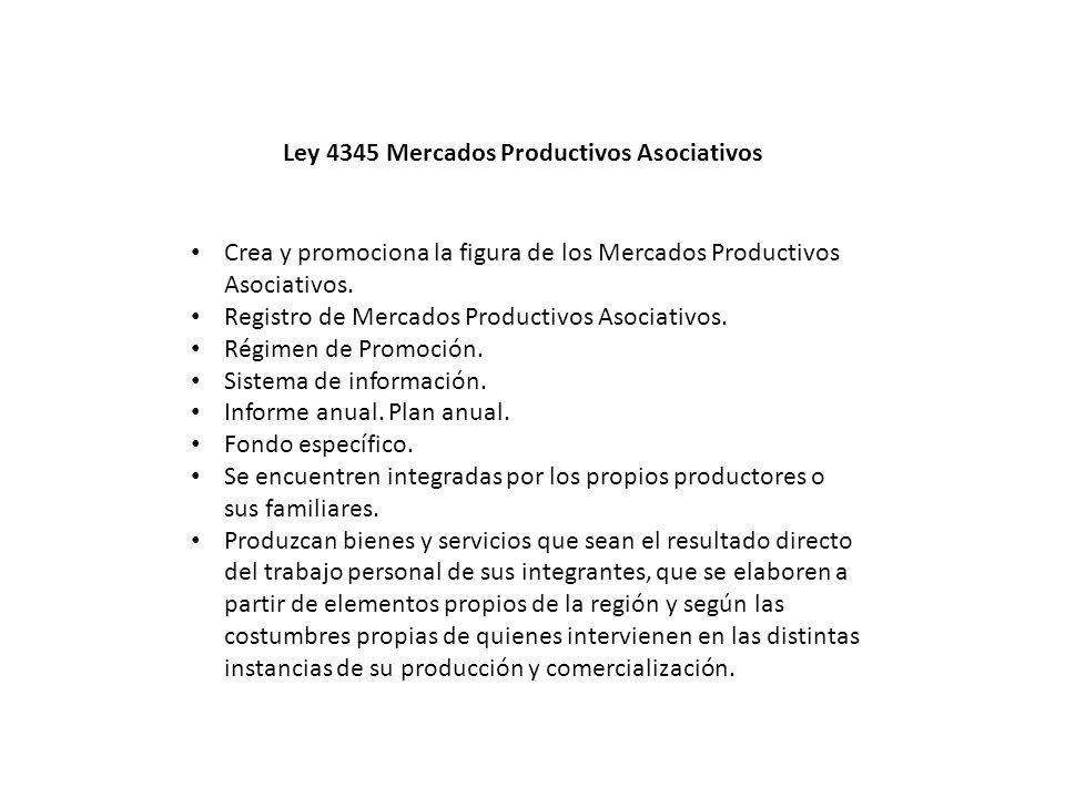 Crea y promociona la figura de los Mercados Productivos Asociativos. Registro de Mercados Productivos Asociativos. Régimen de Promoción. Sistema de in