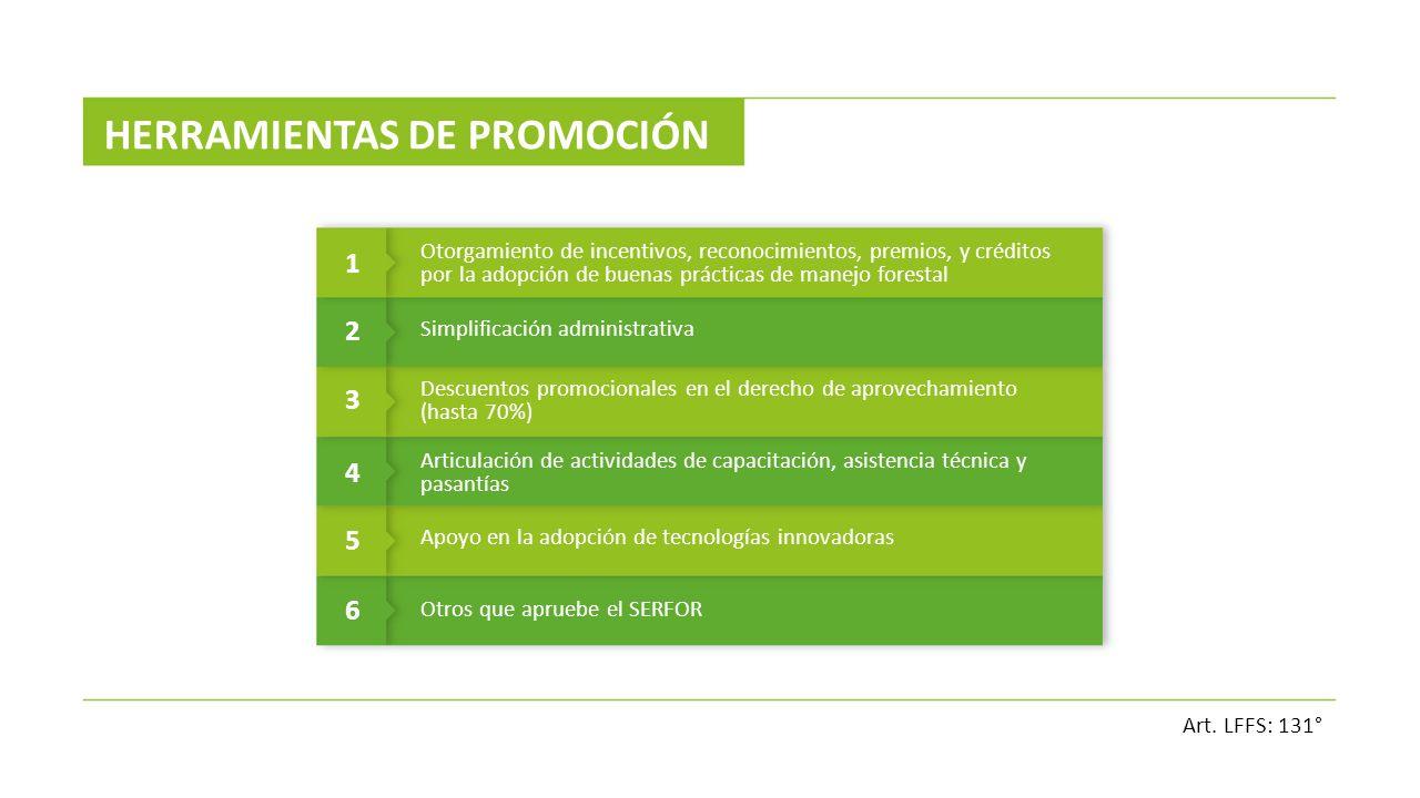 HERRAMIENTAS DE PROMOCIÓN 1 Otorgamiento de incentivos, reconocimientos, premios, y créditos por la adopción de buenas prácticas de manejo forestal 2