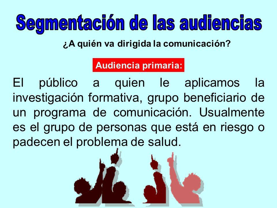 ¿A quién va dirigida la comunicación? El público a quien le aplicamos la investigación formativa, grupo beneficiario de un programa de comunicación. U
