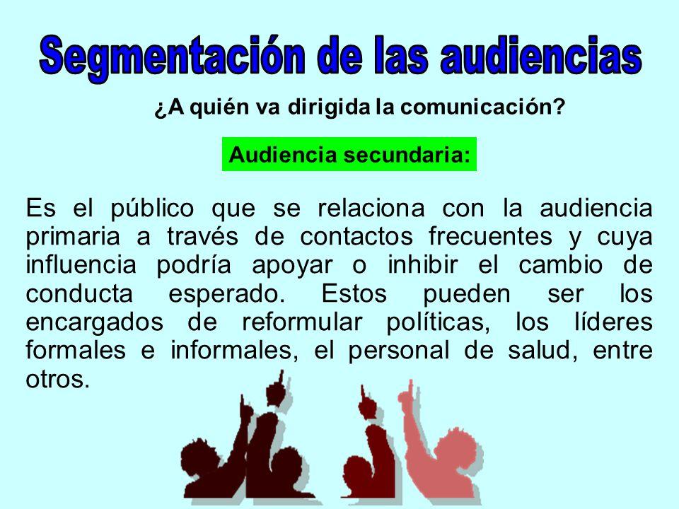 ¿A quién va dirigida la comunicación? Es el público que se relaciona con la audiencia primaria a través de contactos frecuentes y cuya influencia podr