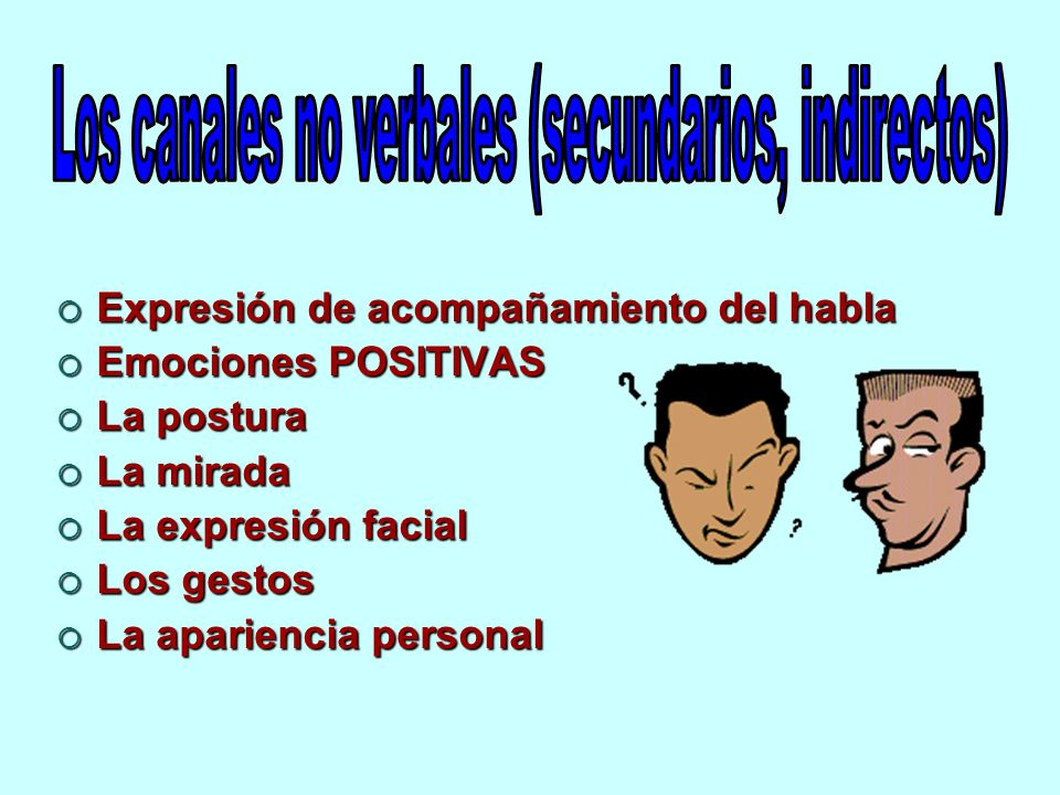 Expresión de acompañamiento del habla Expresión de acompañamiento del habla Emociones POSITIVAS Emociones POSITIVAS La postura La postura La mirada La