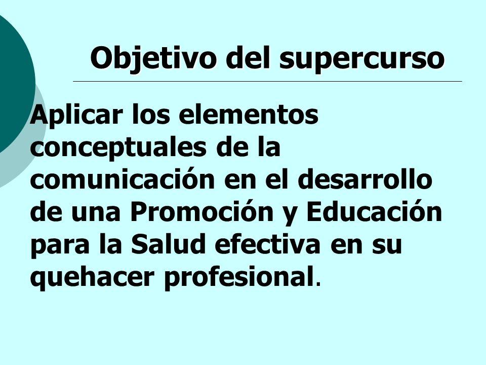 Objetivo del supercurso Aplicar los elementos conceptuales de la comunicación en el desarrollo de una Promoción y Educación para la Salud efectiva en