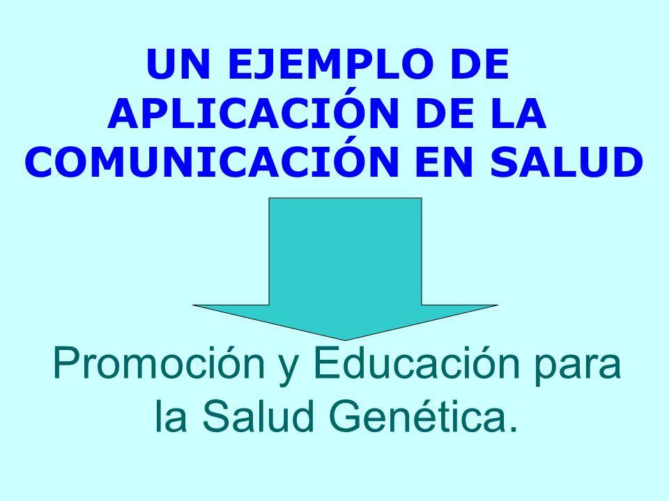 Promoción y Educación para la Salud Genética. UN EJEMPLO DE APLICACIÓN DE LA COMUNICACIÓN EN SALUD
