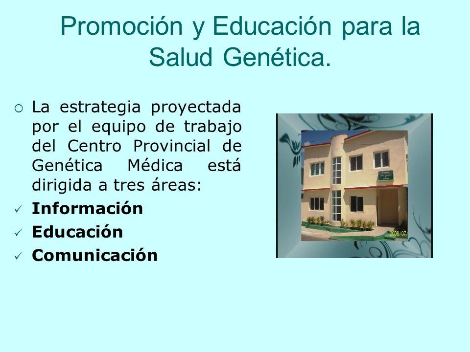 Promoción y Educación para la Salud Genética. La estrategia proyectada por el equipo de trabajo del Centro Provincial de Genética Médica está dirigida
