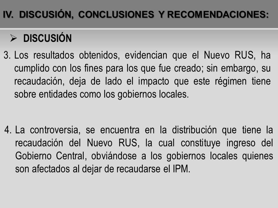 IV.DISCUSIÓN, CONCLUSIONES Y RECOMENDACIONES: 4.La controversia, se encuentra en la distribución que tiene la recaudación del Nuevo RUS, la cual const
