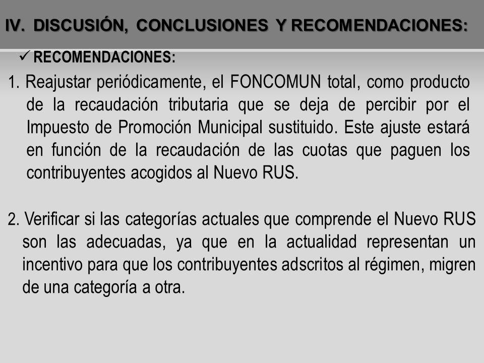IV.DISCUSIÓN, CONCLUSIONES Y RECOMENDACIONES: RECOMENDACIONES: 1. Reajustar periódicamente, el FONCOMUN total, como producto de la recaudación tributa