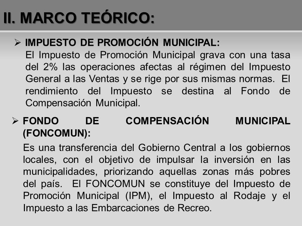 FONDO DE COMPENSACIÓN MUNICIPAL (FONCOMUN): Es una transferencia del Gobierno Central a los gobiernos locales, con el objetivo de impulsar la inversió
