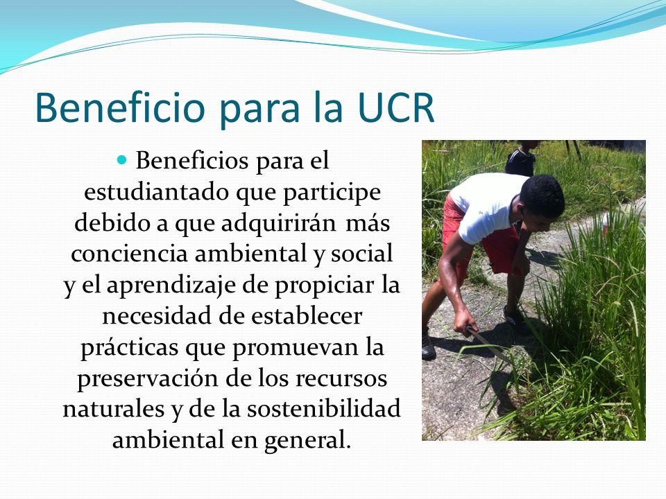 Beneficio para la UCR Beneficios para el estudiantado que participe debido a que adquirirán más conciencia ambiental y social y el aprendizaje de propiciar la necesidad de establecer prácticas que promuevan la preservación de los recursos naturales y de la sostenibilidad ambiental en general.