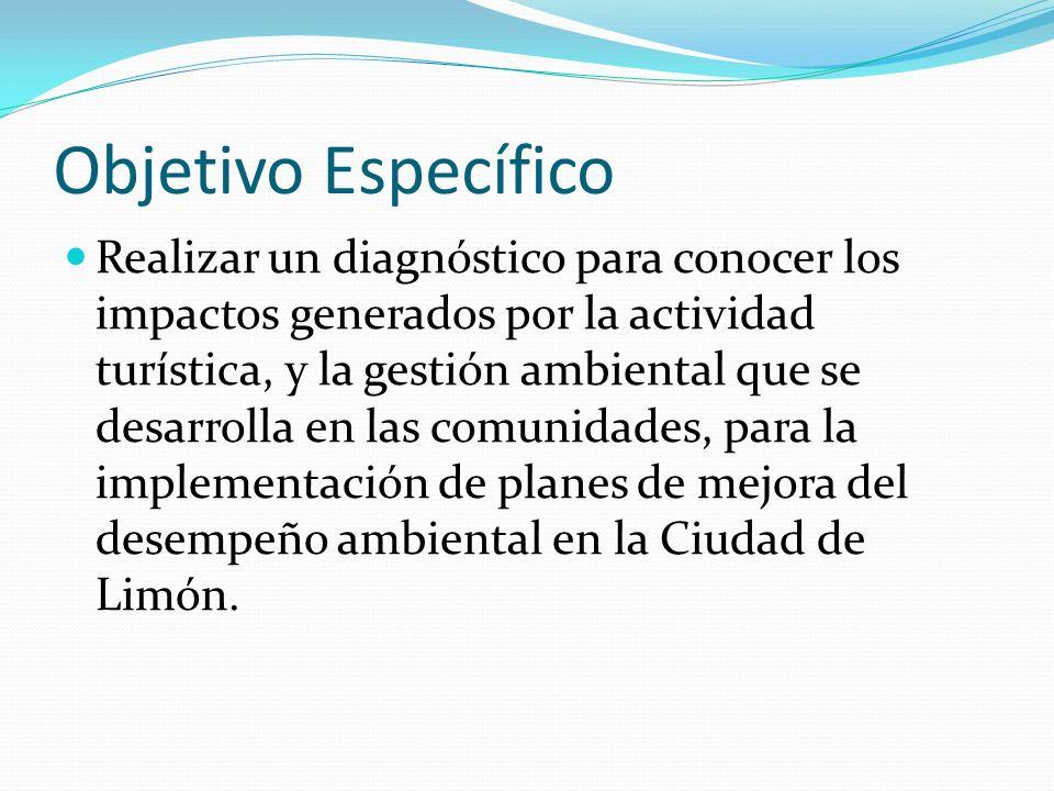 Objetivo Específico Realizar un diagnóstico para conocer los impactos generados por la actividad turística, y la gestión ambiental que se desarrolla e