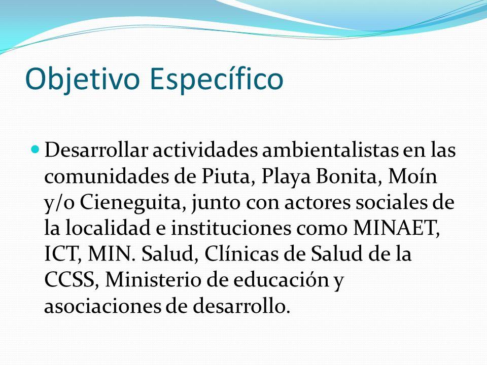 Objetivo Específico Desarrollar actividades ambientalistas en las comunidades de Piuta, Playa Bonita, Moín y/o Cieneguita, junto con actores sociales