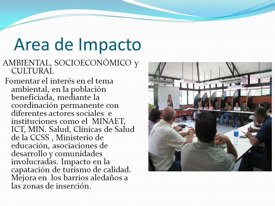 Area de Impacto AMBIENTAL, SOCIOECONÓMICO y CULTURAL Fomentar el interés en el tema ambiental, en la población beneficiada, mediante la coordinación permanente con diferentes actores sociales e instituciones como el MINAET, ICT, MIN.