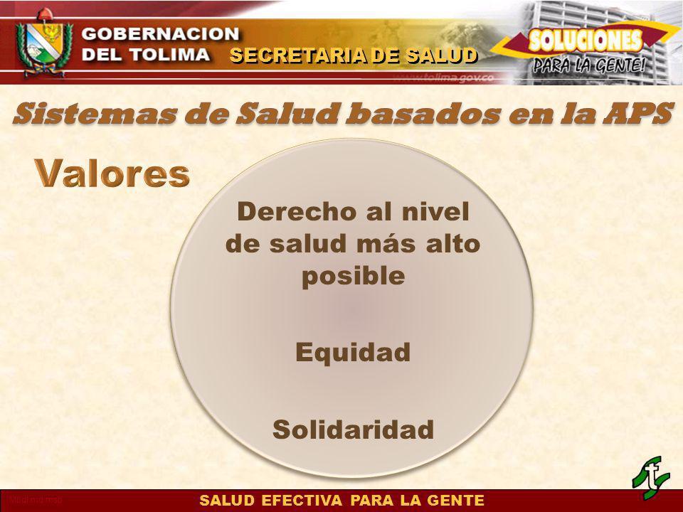 SALUD EFECTIVA PARA LA GENTE SECRETARIA DE SALUD Mbdl.md.msp Derecho al nivel de salud más alto posible Equidad Solidaridad