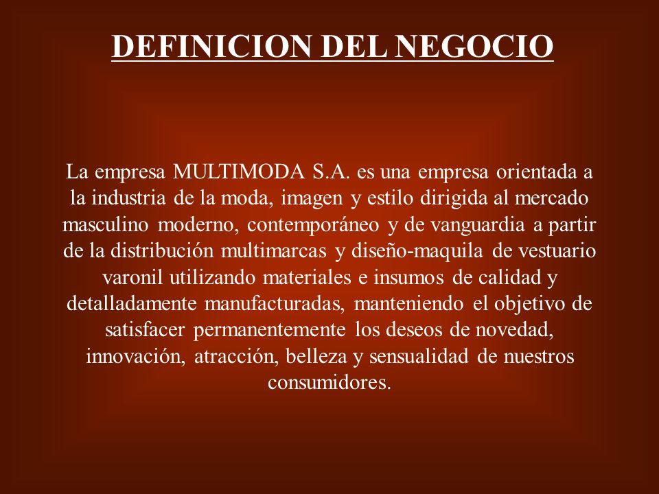 DEFINICION DEL NEGOCIO La empresa MULTIMODA S.A. es una empresa orientada a la industria de la moda, imagen y estilo dirigida al mercado masculino mod