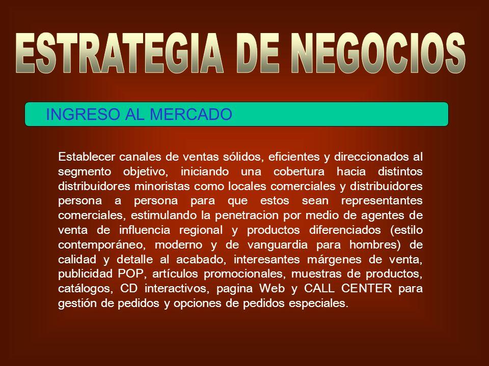 INGRESO AL MERCADO Establecer canales de ventas sólidos, eficientes y direccionados al segmento objetivo, iniciando una cobertura hacia distintos dist