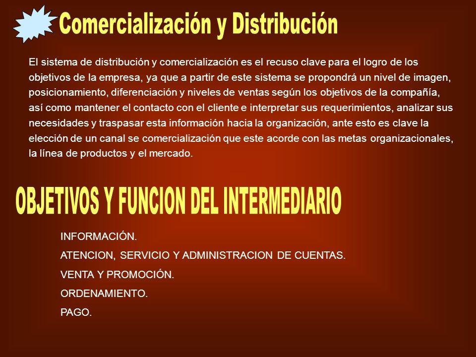 El sistema de distribución y comercialización es el recuso clave para el logro de los objetivos de la empresa, ya que a partir de este sistema se prop