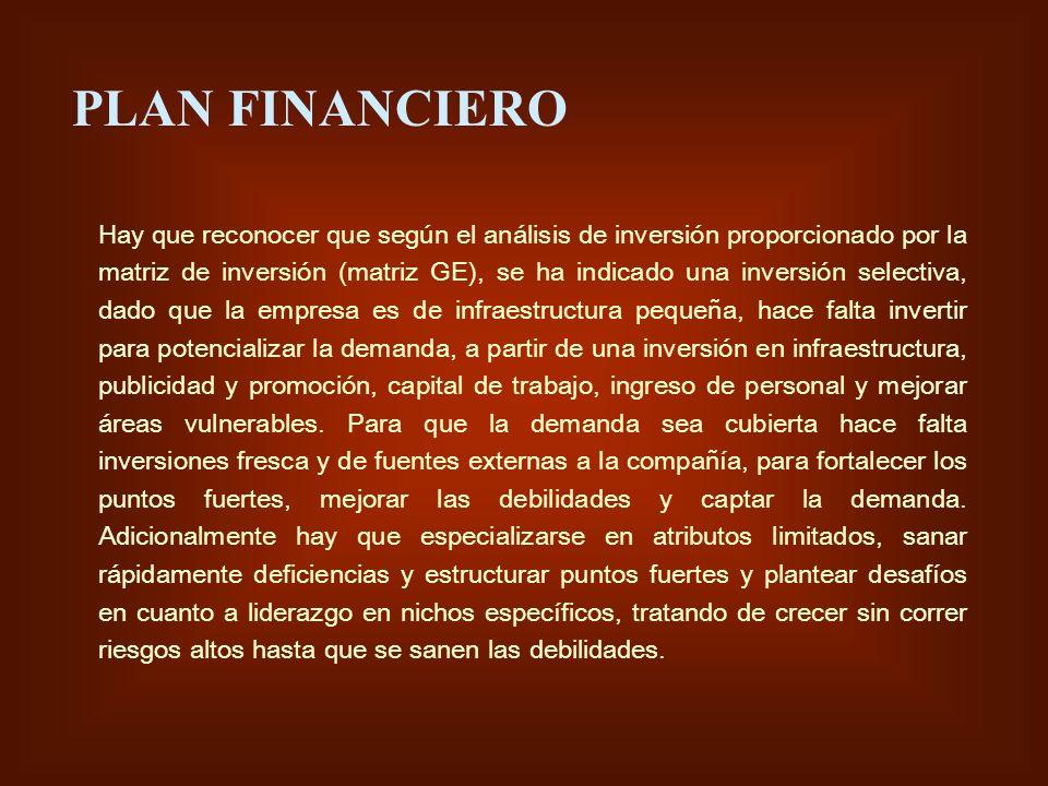 PLAN FINANCIERO Hay que reconocer que según el análisis de inversión proporcionado por la matriz de inversión (matriz GE), se ha indicado una inversió