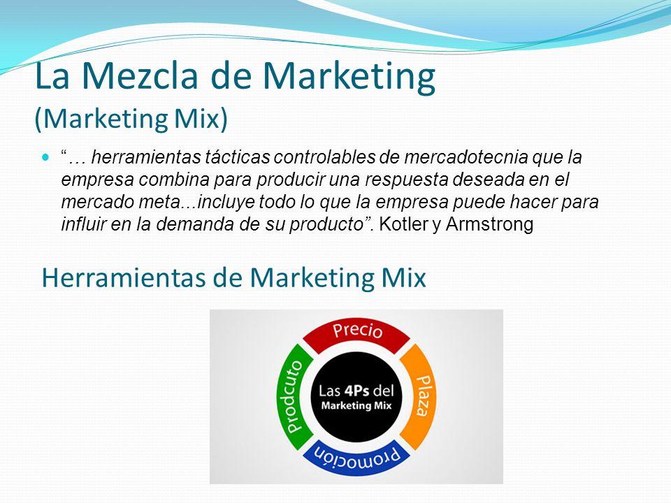 La Mezcla de Marketing (Marketing Mix) … herramientas tácticas controlables de mercadotecnia que la empresa combina para producir una respuesta desead