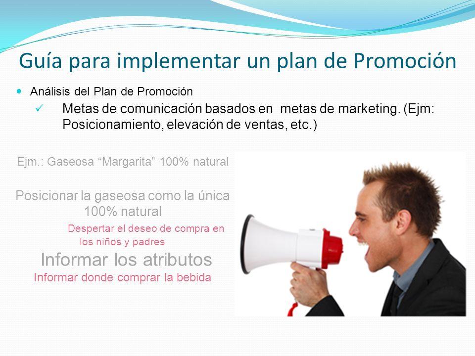 Análisis del Plan de Promoción Metas de comunicación basados en metas de marketing. (Ejm: Posicionamiento, elevación de ventas, etc.) Guía para implem