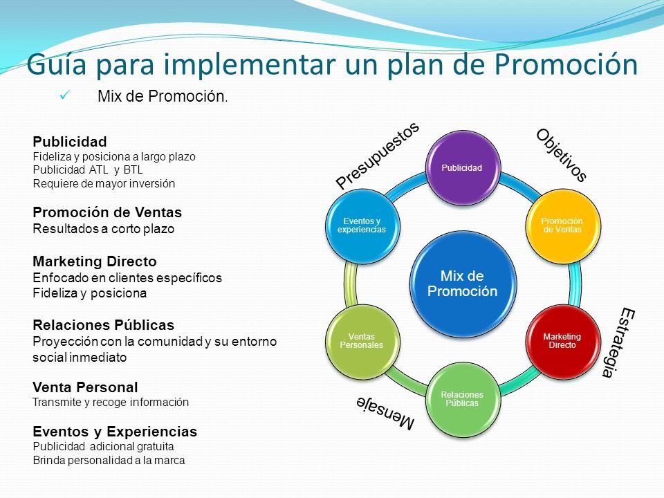 Guía para implementar un plan de Promoción Objetivos Estrategia Presupuestos Mensaje Publicidad Fideliza y posiciona a largo plazo Publicidad ATL y BT