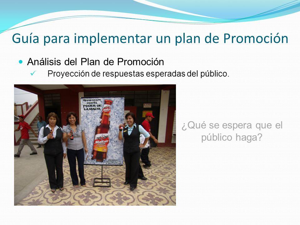 Análisis del Plan de Promoción Proyección de respuestas esperadas del público. Guía para implementar un plan de Promoción ¿Qué se espera que el públic