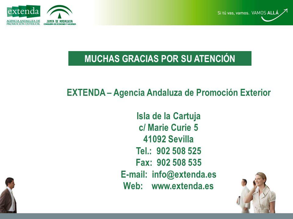 EXTENDA – Agencia Andaluza de Promoción Exterior Isla de la Cartuja c/ Marie Curie 5 41092 Sevilla Tel.: 902 508 525 Fax: 902 508 535 E-mail: info@extenda.es Web: www.extenda.es MUCHAS GRACIAS POR SU ATENCIÓN