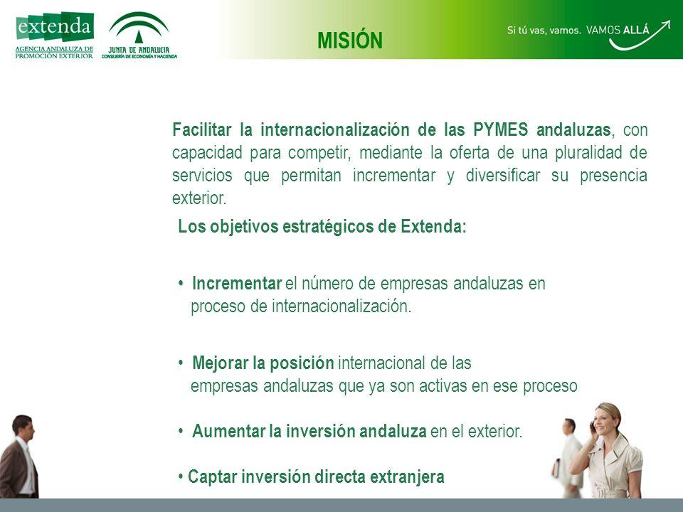 Facilitar la internacionalización de las PYMES andaluzas, con capacidad para competir, mediante la oferta de una pluralidad de servicios que permitan incrementar y diversificar su presencia exterior.