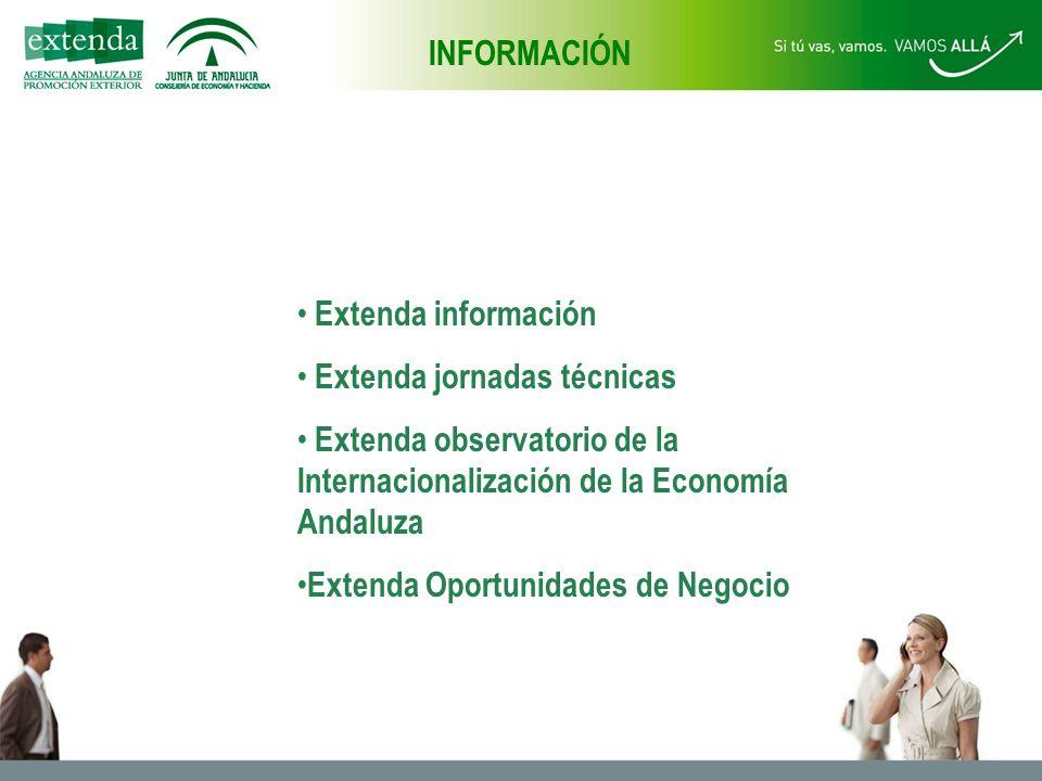 INFORMACIÓN Extenda información Extenda jornadas técnicas Extenda observatorio de la Internacionalización de la Economía Andaluza Extenda Oportunidades de Negocio