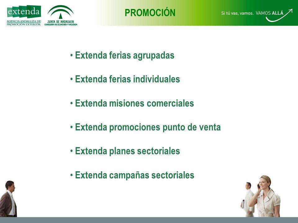 Extenda ferias agrupadas Extenda ferias individuales Extenda misiones comerciales Extenda promociones punto de venta Extenda planes sectoriales Extenda campañas sectoriales PROMOCIÓN