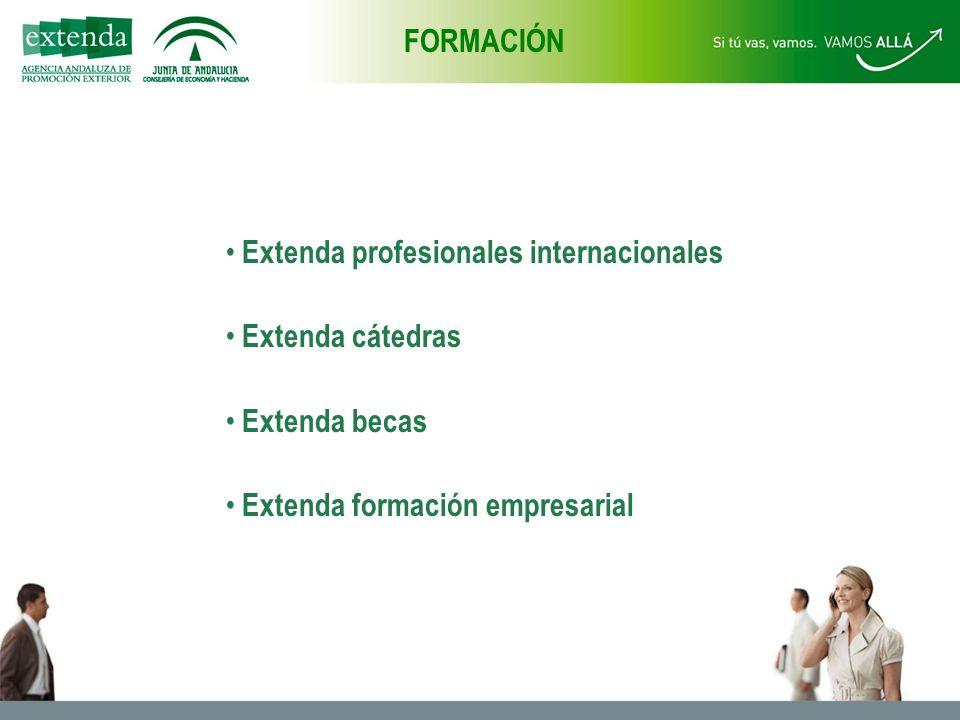 Extenda profesionales internacionales Extenda cátedras Extenda becas Extenda formación empresarial FORMACIÓN