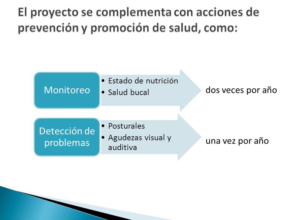 Estado de nutrición Salud bucal Monitoreo Posturales Agudezas visual y auditiva Detección de problemas dos veces por año una vez por año