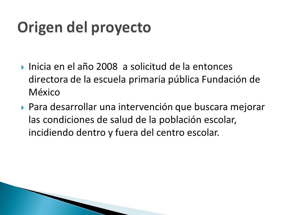 Inicia en el año 2008 a solicitud de la entonces directora de la escuela primaria pública Fundación de México Para desarrollar una intervención que buscara mejorar las condiciones de salud de la población escolar, incidiendo dentro y fuera del centro escolar.