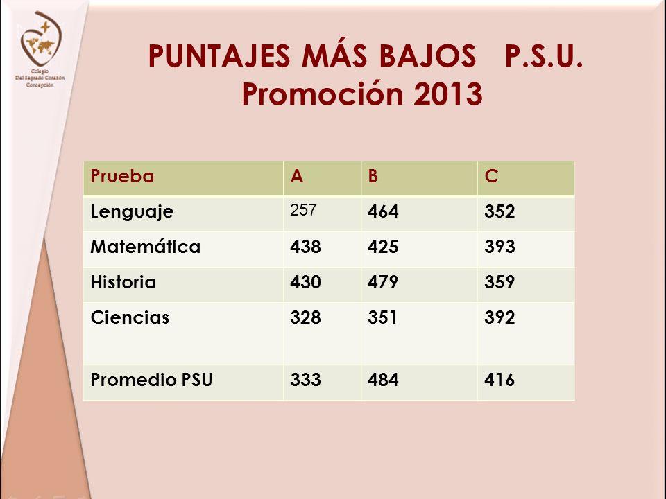 PUNTAJES MÁS BAJOS P.S.U. Promoción 2013 PruebaABC Lenguaje 257 464352 Matemática438425393 Historia430479359 Ciencias328351392 Promedio PSU333484416