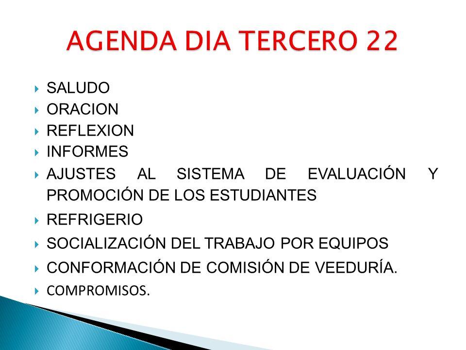 SALUDO ORACION REFLEXION INFORMES AJUSTES AL SISTEMA DE EVALUACIÓN Y PROMOCIÓN DE LOS ESTUDIANTES REFRIGERIO SOCIALIZACIÓN DEL TRABAJO POR EQUIPOS CONFORMACIÓN DE COMISIÓN DE VEEDURÍA.