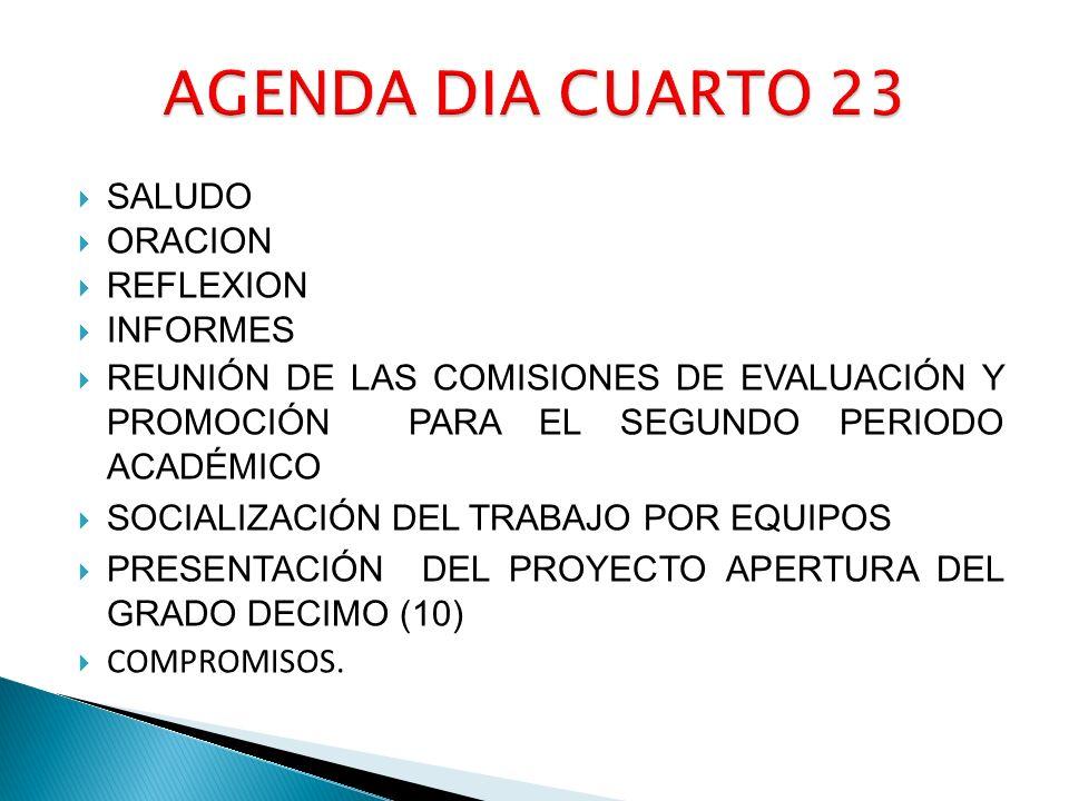 SALUDO ORACION REFLEXION INFORMES REUNIÓN DE LAS COMISIONES DE EVALUACIÓN Y PROMOCIÓN PARA EL SEGUNDO PERIODO ACADÉMICO SOCIALIZACIÓN DEL TRABAJO POR EQUIPOS PRESENTACIÓN DEL PROYECTO APERTURA DEL GRADO DECIMO (10) COMPROMISOS.