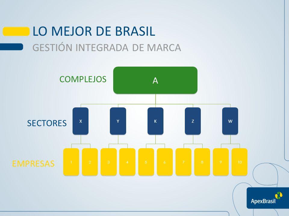 A A X X Y Y K K Z Z W W 1 1 2 2 3 3 4 4 5 5 6 6 7 7 8 8 9 9 10 COMPLEJOS SETORES EMPRESAS LO MEJOR DE BRASIL GESTIÓN INTEGRADA DE MARCA