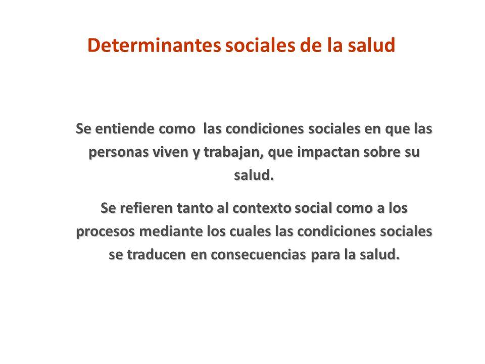 Determinantes sociales de la salud Se entiende como las condiciones sociales en que las personas viven y trabajan, que impactan sobre su salud. Se ref