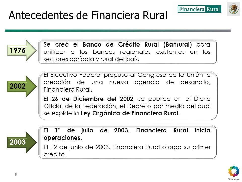 Dirección General Adjunta de Fomento y Promoción de Negocios 3 Antecedentes de Financiera Rural Se creó el Banco de Crédito Rural (Banrural) para unificar a los bancos regionales existentes en los sectores agrícola y rural del país.