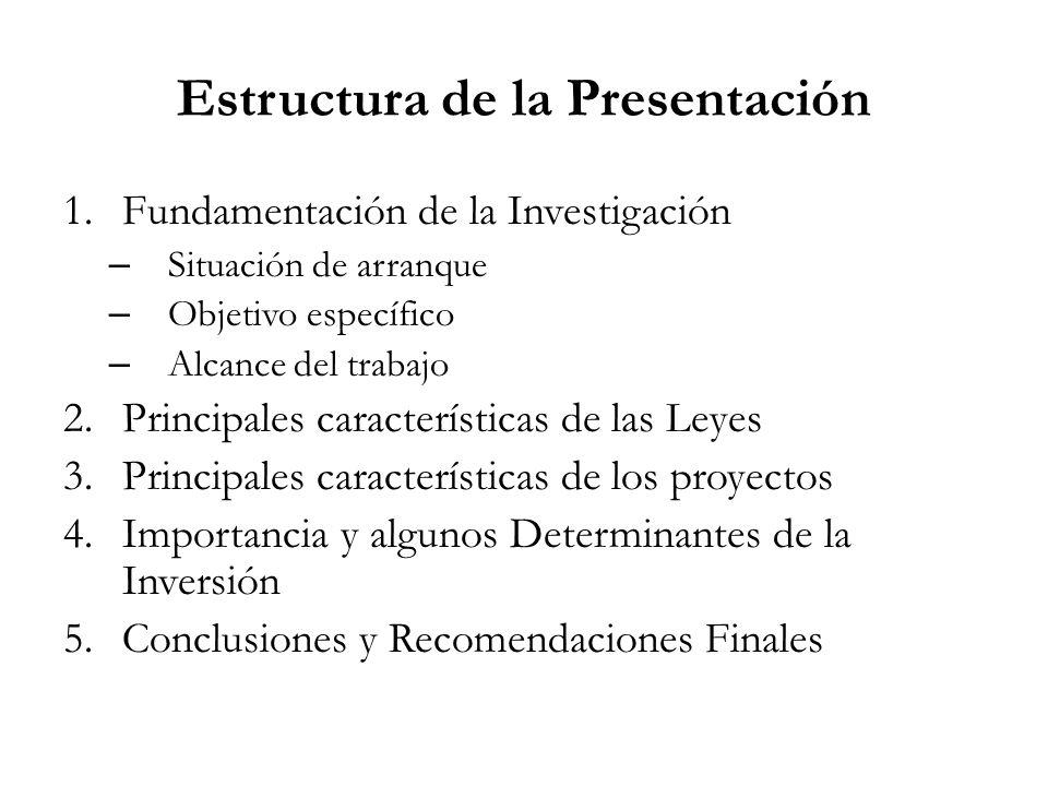 Estructura de la Presentación 1.Fundamentación de la Investigación – Situación de arranque – Objetivo específico – Alcance del trabajo 2.Principales c