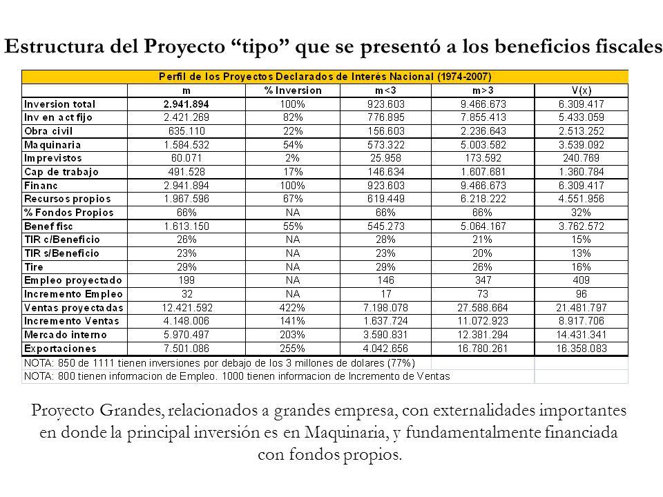 Estructura del Proyecto tipo que se presentó a los beneficios fiscales Proyecto Grandes, relacionados a grandes empresa, con externalidades importante