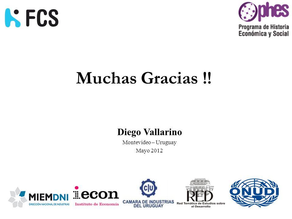 Muchas Gracias !! Diego Vallarino Montevideo – Uruguay Mayo 2012