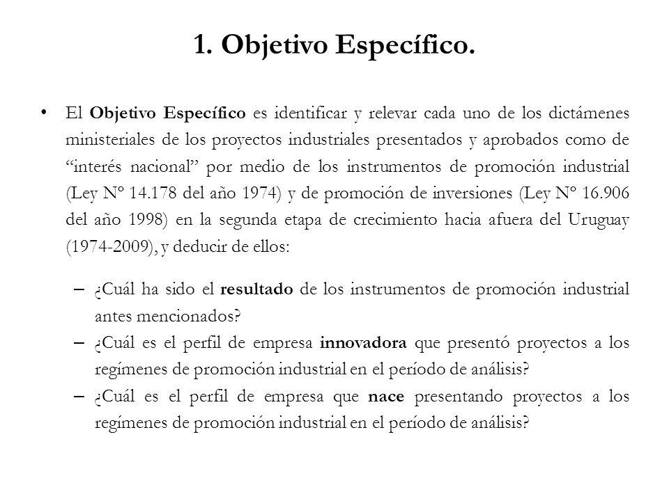 1. Objetivo Específico. El Objetivo Específico es identificar y relevar cada uno de los dictámenes ministeriales de los proyectos industriales present