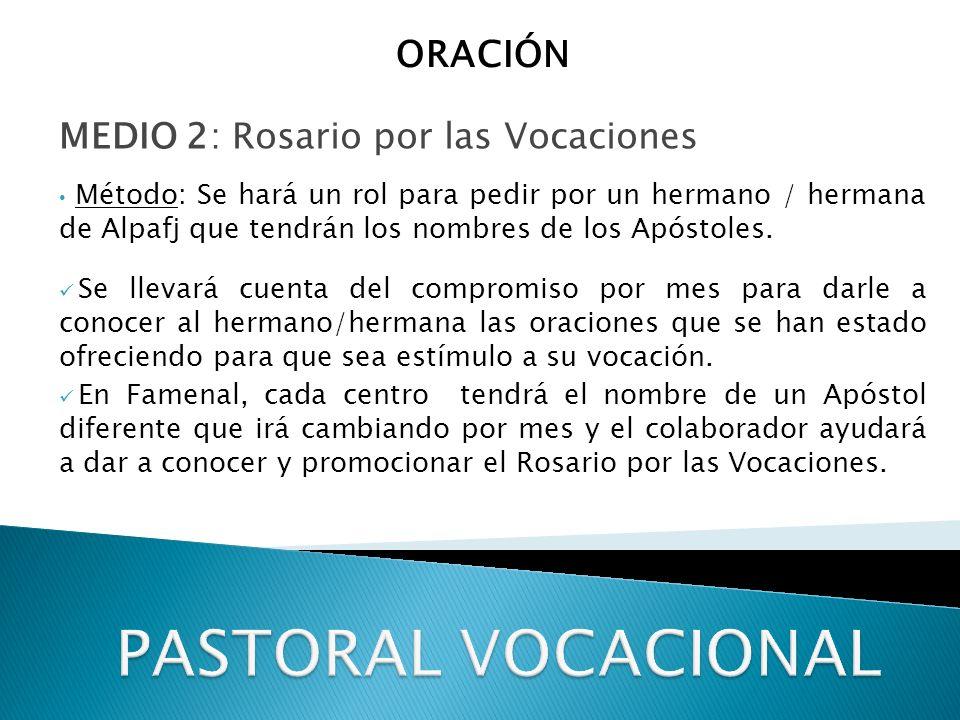 MEDIO 2: Rosario por las Vocaciones Método: Se hará un rol para pedir por un hermano / hermana de Alpafj que tendrán los nombres de los Apóstoles.