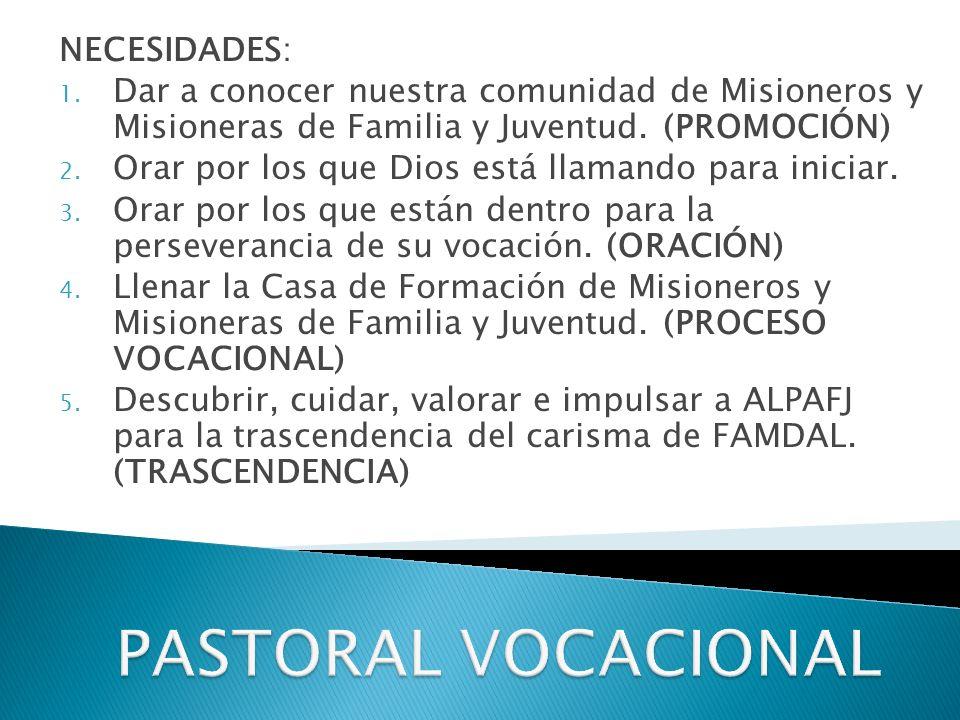 NECESIDADES: 1.Dar a conocer nuestra comunidad de Misioneros y Misioneras de Familia y Juventud.