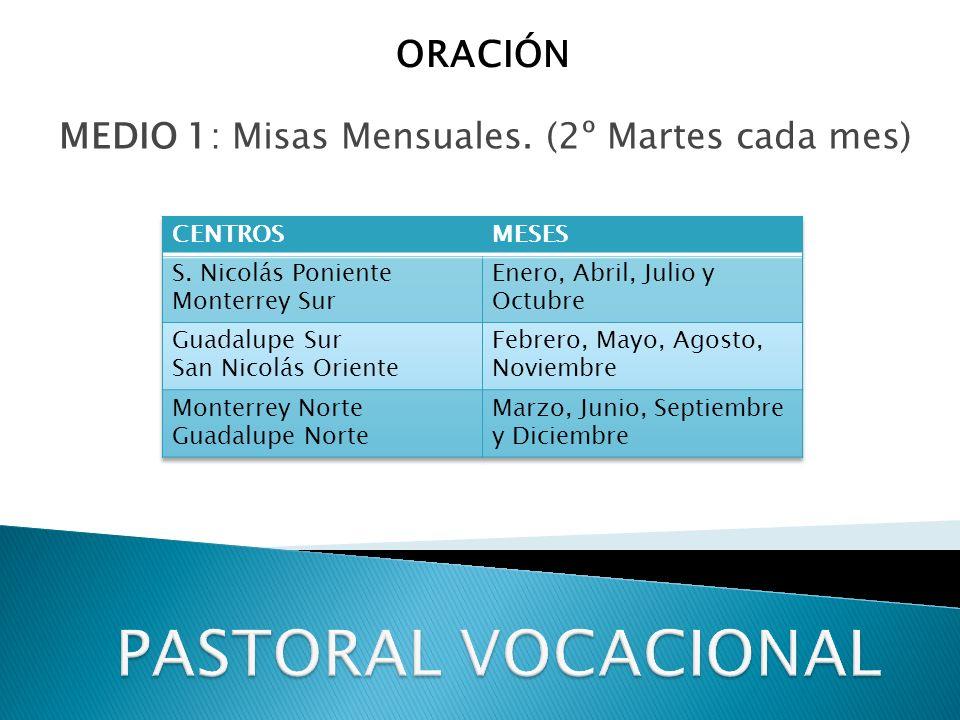 MEDIO 1: Misas Mensuales. (2º Martes cada mes) ORACIÓN